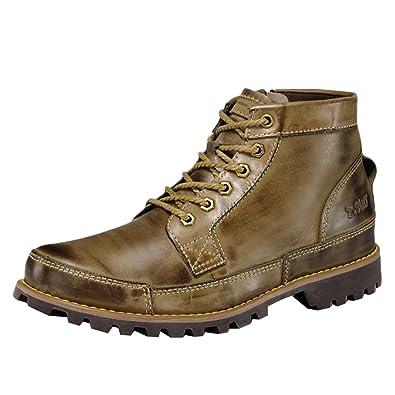 Liveinu Mens Cowhide Desert Boot Rubber Sole Chukka Boots Khaki