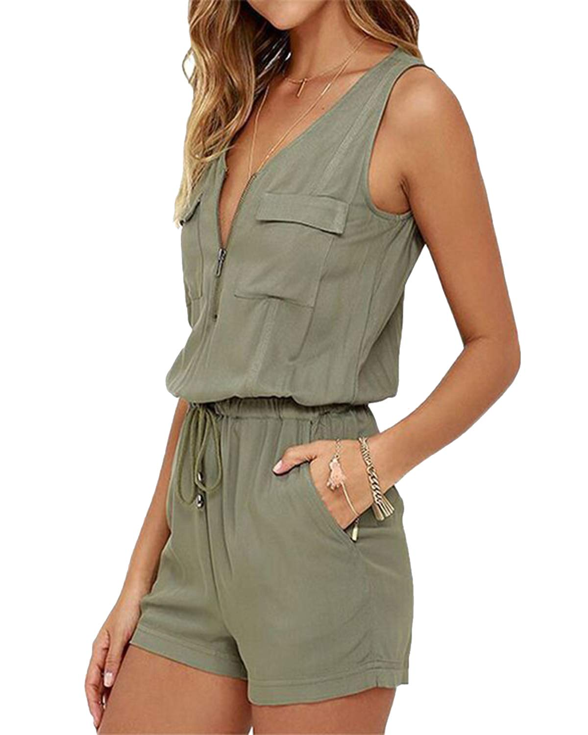 Celmia Women Sleeveless Romper Casual Short Jumpsuit Playsuit with Pocket Zipper Green L by Celmia