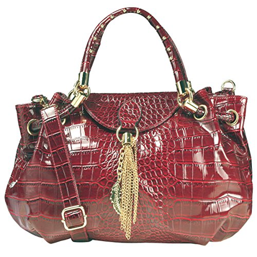 A+ Alligator-Style Satchel Handbag w/ Feather Metal Fringe and Adj. Shoulder Strap (RED COLOR): SP2388-RD