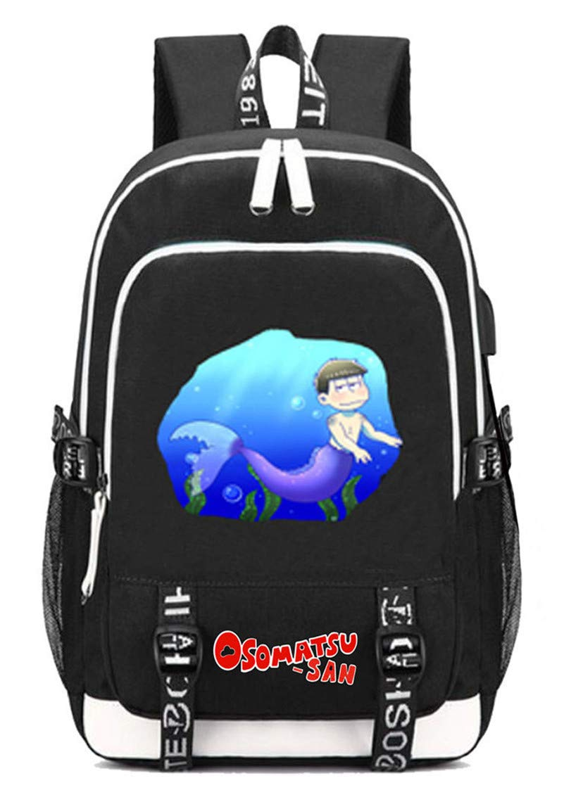 Osomatsusan  4 Cosstars Osomatsusan Anime Rucksack Schoolbag Laptop Backpack with USB Charging Port and Headphone Jack  3