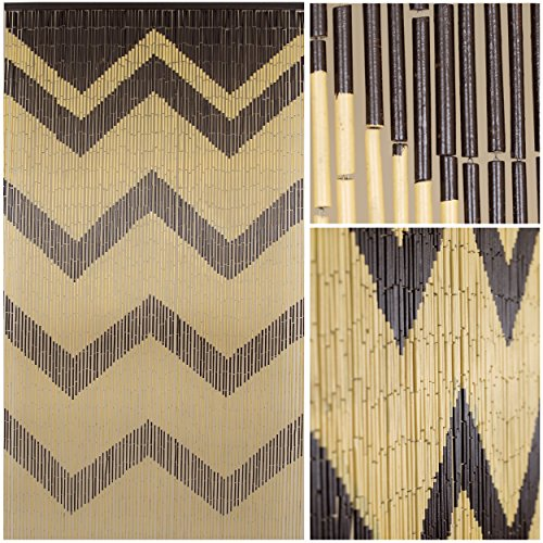 - BeadedString Natural Bamboo Wood Beaded Curtain-90 Strands-80 High-Boho Door Beads-Bohemian Doorway Curtain-35.5