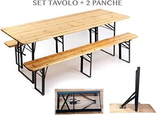 1714489 mesa plegable Set birreria con 2 bancos de madera plegables de camping para exterior jardín: Amazon.es: Jardín