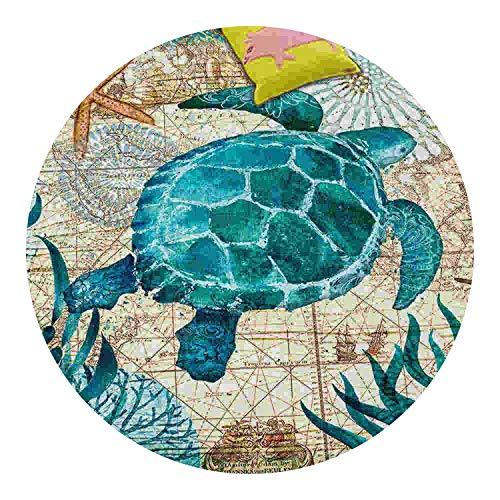Pursuit-of-self Coral Velvet Computer Chair Floor Mat Sea Turtle Octopus Printed Round Carpet,1,100cm Diameter]()