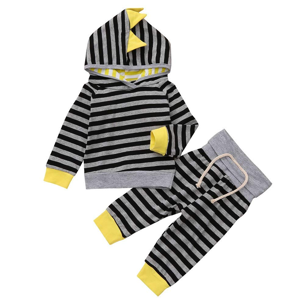 2PCS Toddler Baby Boys Long Sleeve Stripe Print Hooded Top Sweatshirt High Waist Pants Set Outfit