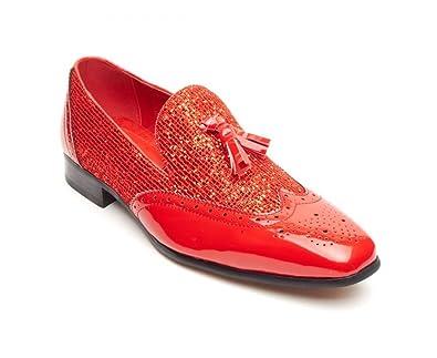 Rossellini - Mocasines de Ante para hombre, color Rojo, talla 41 EU