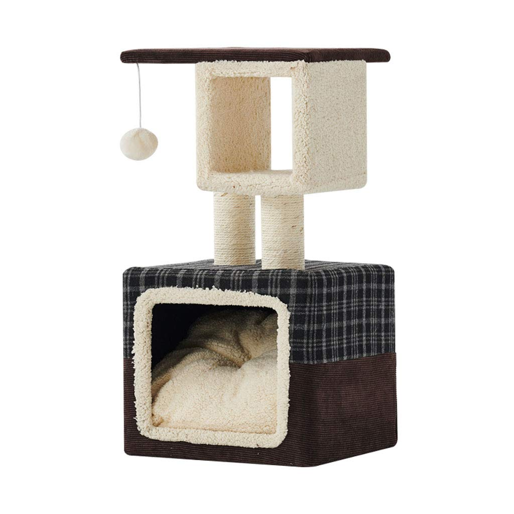 350300670mm GCHOME Cat tree tower Cat Climbing Frame, Short Plush Fabric Sisal Cat Tree Wear-resistant and Scratch-resistant Four Seasons Universal Warm and Comfortable (Size   350  300  670mm)