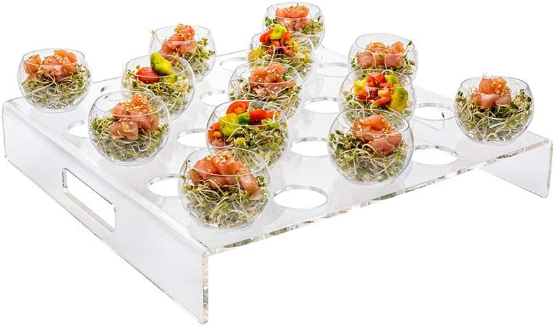 Clear Tek Clear Acrylic Appetizer Cups Serving Tray - 25 slots - 11 3/4