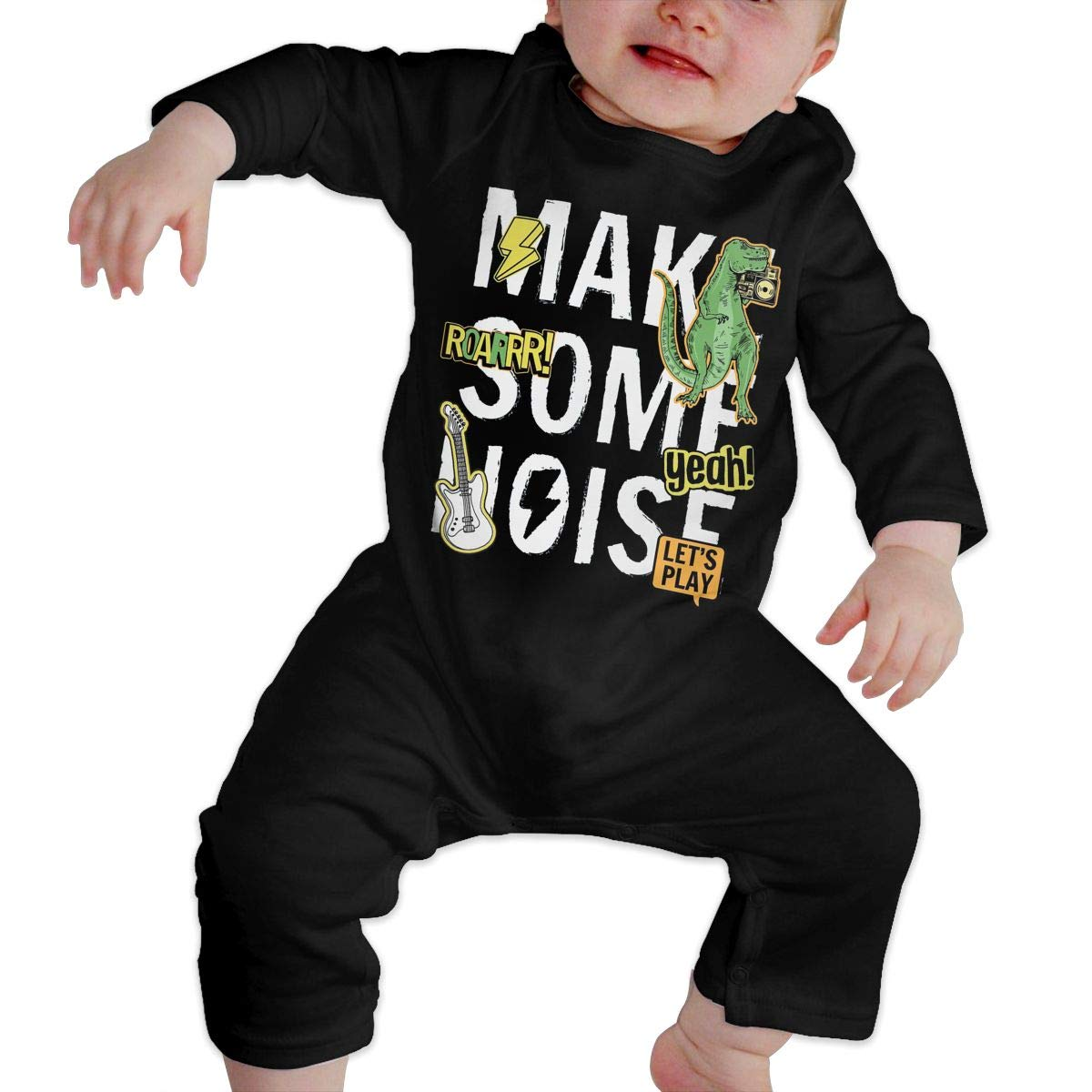 Unisex Baby O-Neck Long Sleeve Solid Color Climbing Clothes Make Some Noise Slogan Graphic Crawling Clothes