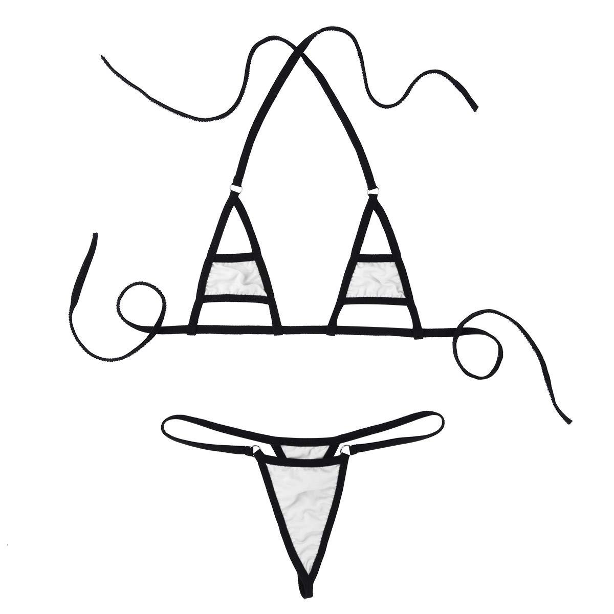 YiZYiF Women's Sheer Extreme Bikini Halterneck Top and Tie Sides Micro Thong Sets (Cutout White)