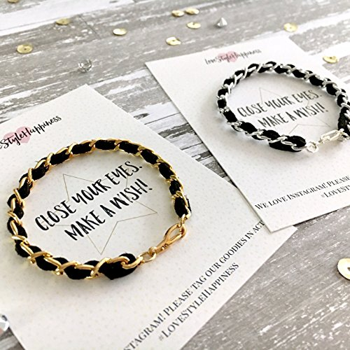 Chain Bracelet, Suede woven chain bracelet,Friendship Bracelet, Wish Card