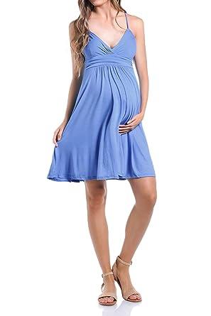 a42aa28af75dd Beachcoco Women's Maternity Sweetheart Short Dress Made in USA (S, Dutch  Blue)