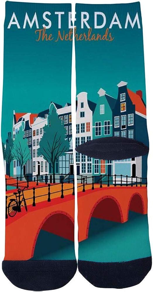Modern travel poster Amsterdam The Netherlands Socks Mens Womens Casual Socks Custom Creative Crew Socks