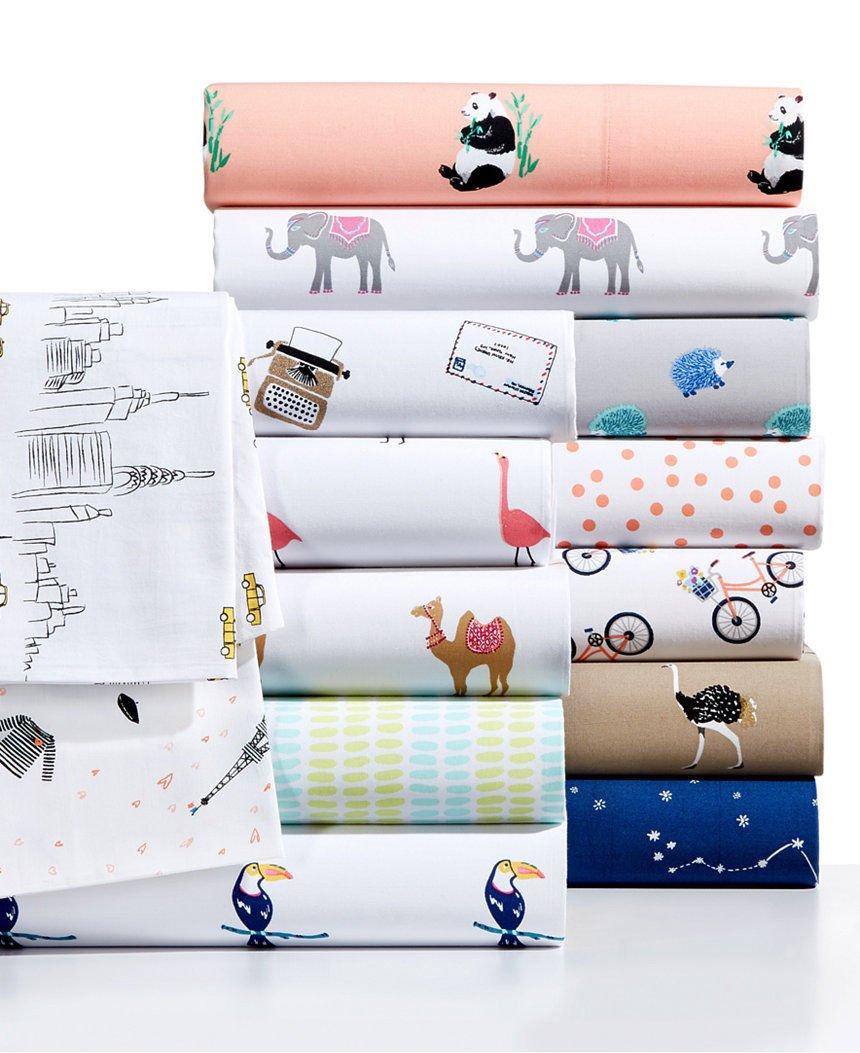 Whim by Martha Stewart Collection Novelty Print Cotton Percale California King Sheet Set Impression Stripe