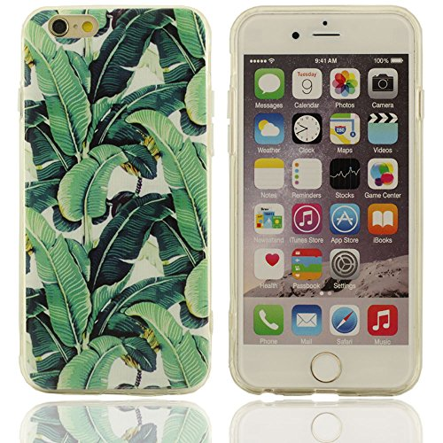 iPhone 6 cas, Hard Cover Case Coque protection en plastique New Design Pattern Les feuilles de bananier Esquisse pour Apple iPhone 6S 4.7 inch(vert)