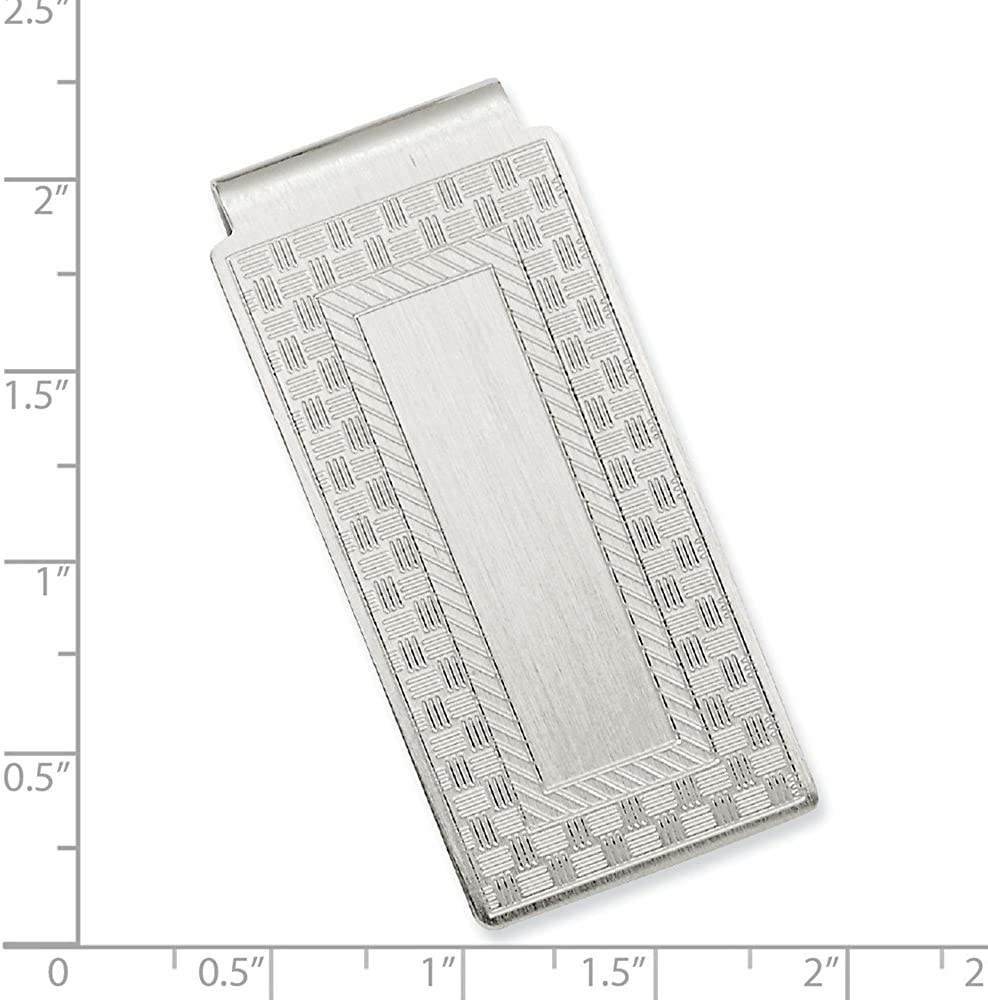Diamond2Deal Rhodium-Plated Kelly Waters Checkerboard Hinged Money Clip for Women fine Jewelry Gift for Women Length: 23 mm|Width: 50mm