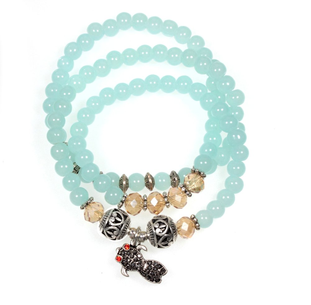 Beautiful Silver Jewelry Triple Wrap Teal Blue Bead Bracelet And Necklace With Rhinestone Silvertone Fish Charm