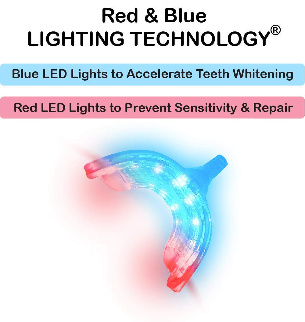 iSmile Teeth Whitening Kit with Powerful RED BLUE LED Light – 35 Carbamide Peroxide Pens 3 Pack and Desensitizing Gel Pen for Sensitive Teeth – Adapters for iPhone, Android, USB- HiSmile – Whiten