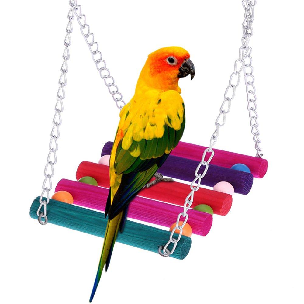Roblue Balançoire Coloré de Pont Suspendu Jouets pour Animaux Oiseau Perroquet Conure Perruche Calopsitte en Bois YEAH