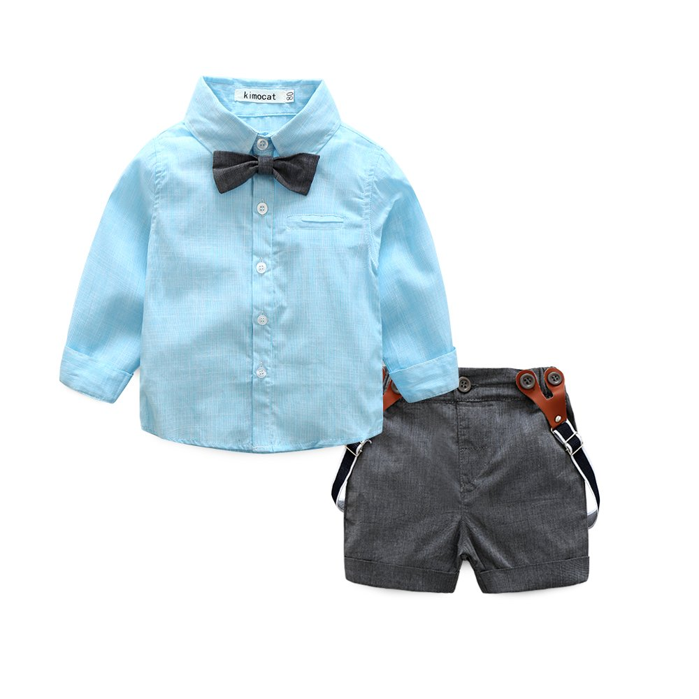 Baby Boy Shirt and Tie Sets Long Sleeve Woven Top+ Bowknot+ Shorts with Suspender Straps Outfits (6-12month, Sky-Blue)