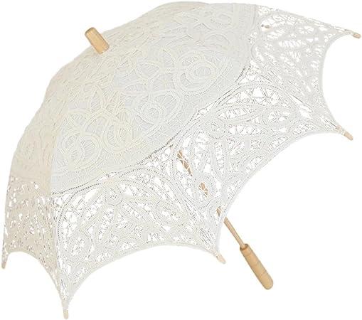 Leo565Tom Sombrilla de Encaje de 48 cm, algodón Puro de Gama Alta, Paraguas de Encaje Hecho a Mano Bordado, sombrilla de Encaje para Dama de Honor Beige Beige: Amazon.es: Hogar