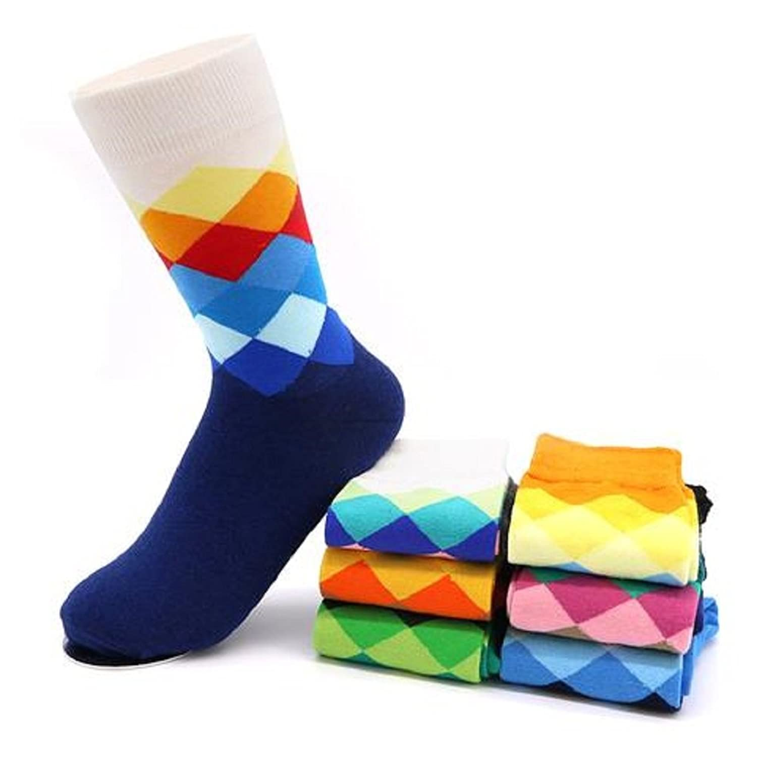 Mens 3Pairs Socks Calcetines Rhombus Cross Plaid Prints Chaussette Men Business Dress Sock at Amazon Mens Clothing store: