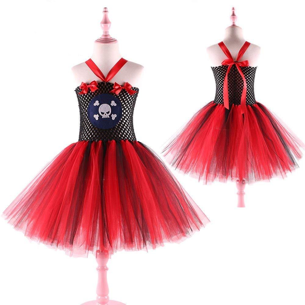 Red and Black Skull Pirate Halloween Girl Tutu Dress Children Kids Cosplay Costume