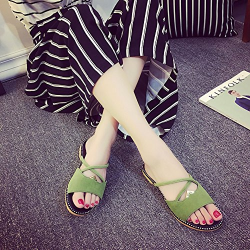 Sintético Sandalias Mujer Claro Chaussures de Verde de Vestir z7wdAaq
