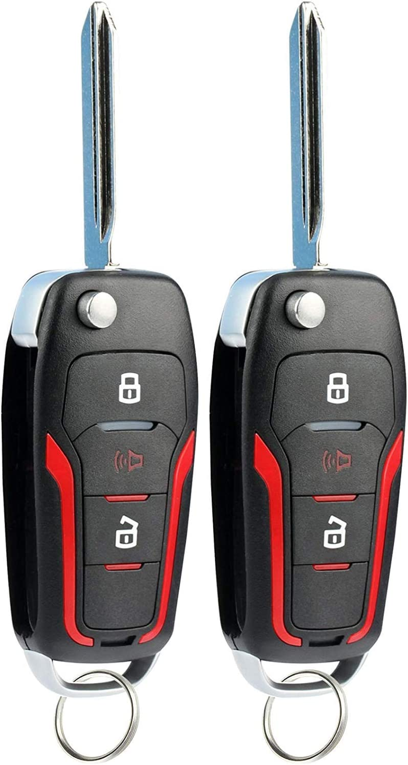 KeylessOption Keyless Entry Car Remote Uncut Ignition Flip Key Fob for Ford Lincoln Mercury CWTWB1U345 Pack of 2