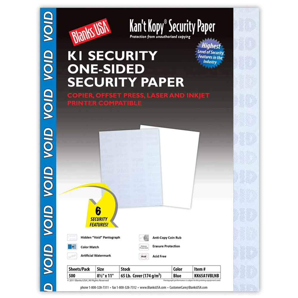 Blanks/USA Kant Kopy Security Paper, 65lb Cover (500 Pack) by Blanks/USA