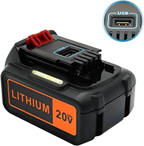 Upgraded ERJER LBXR20 6.0Ah Replace for Black and Decker 20V Lithium Battery Max LBXR20 LBXR20-OPE LB20 LBX20 LBX4020 LB2X4020-OPE Cordless Tool Battery with USB Charging