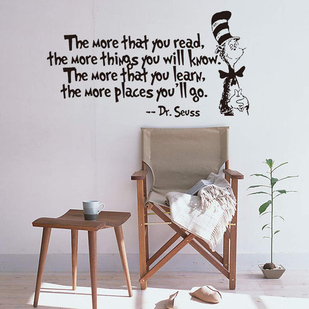 Removable Quotes and Saying Dr. Seuss the More You Read, the More Things You Will Know Transfers Murals Reading Wall Decal Love Baby Kids Children Bedroom School Art Wall Decals Stickers by Dofel (Image #7)