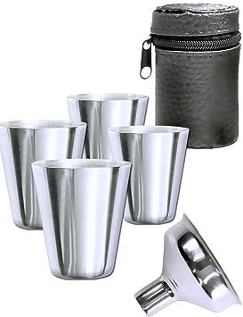 Outdoor Saxx Juego de 6 Acero Inoxidable – Juego de Vasos, 4 Vasos de chupito de + Entrada de Embudo + de Piel Funda | Accesorio Ideal Petaca