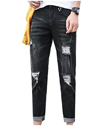 280a1403758d Coolred-Men Washed Pockets Broken Hole Tapered Relaxed-Fit Jean Black 26