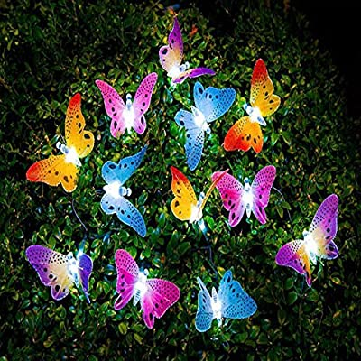Garden Solar Lights Butterfly String Lights Waterproof Fiber Optic Butterfly Shaped 12 LED Multicolor lamp for Garden, Lawn, Patio, Wedding, Party, festival, Outdoor Decoration MaiTian