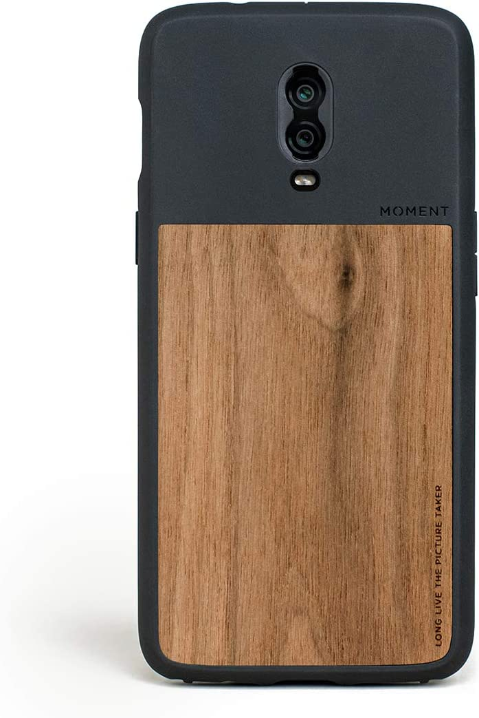 Moment Protective OnePlus 6T Case - Durable Wrist Strap Friendly Case for Photography and Camera Lovers (Walnut Wood)
