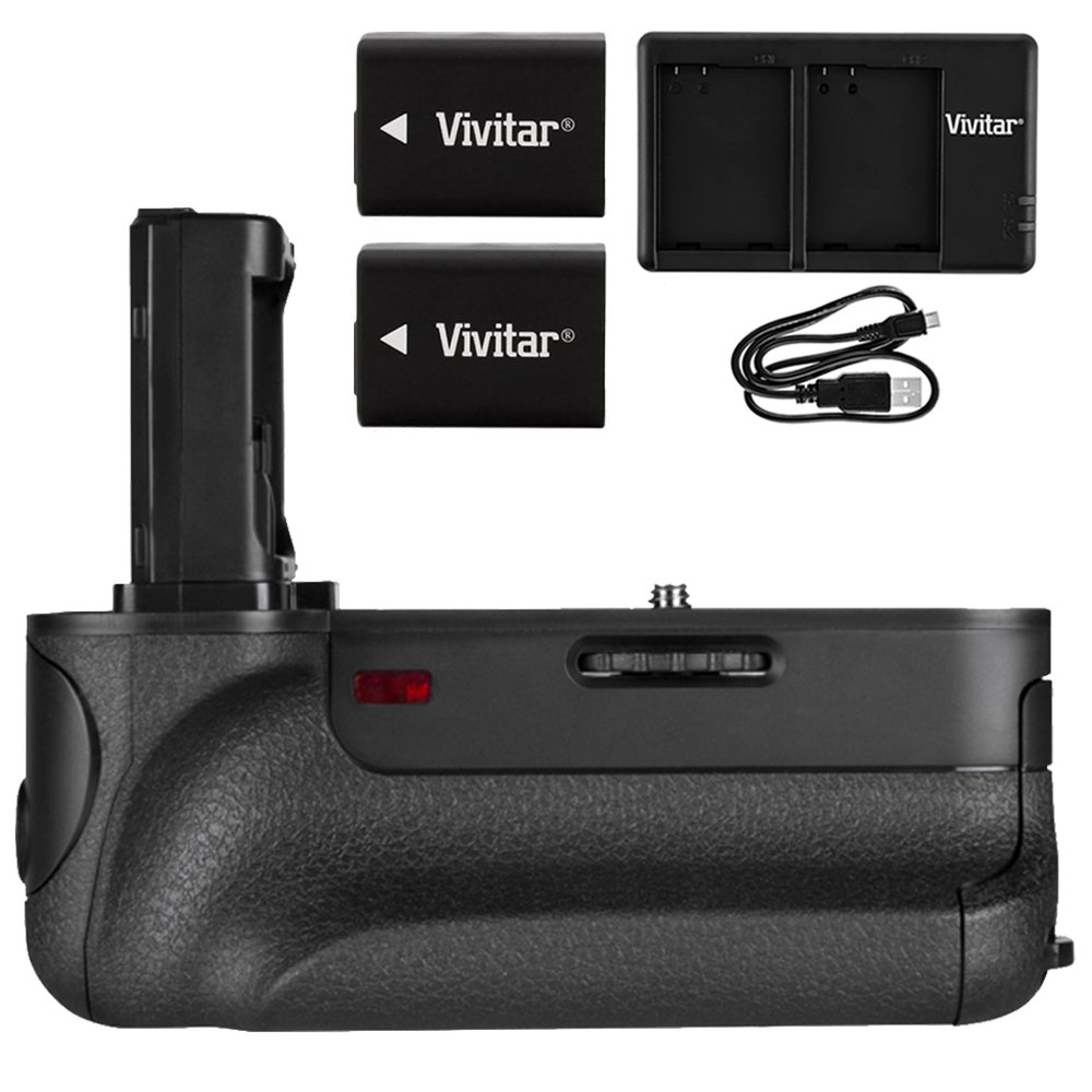 Vivitar PG-A7II Battery Grip (VIV-PG-A7II) for Sony A7, A7R, A7II, A7SII w/ Accessories Bundle Includes, 2x InfoLithium H Series NP-FW50 Camera battery & USB Dual Port Charger