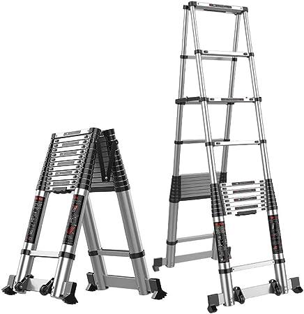 Escalera Telescópica, Escalera telescópica Marco en A con Barra estabilizadora, Escalera de extensión telescópica Plegable de Aluminio, Uso múltiple y Bricolaje (Capacidad de Carga 150 kg): Amazon.es: Hogar