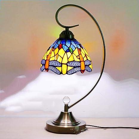 Amazon.com: Lámpara de mesa de cristal de color Tiffany de ...