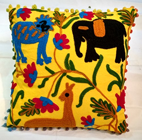 Suzani Embroidered Pillow Cover 16x16, Animal Print Indian Outdoor Cushions, Decorative Throw Pillowcase, Pom Pom Cushion Cover, Boho Pillow Sham