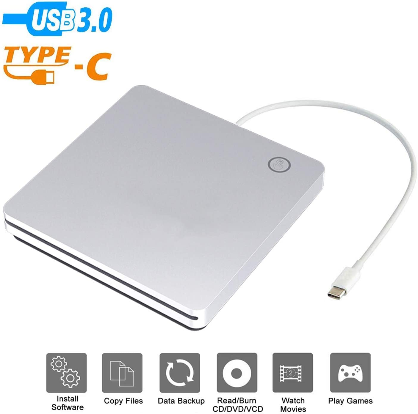 BDYING External USB C CD DVD Drive,Portable USB 3.0 and Type-C Smart Touch Button Slot-in CD DVD Burner Player Writer for Desktop Laptop/Mac/MacBook Pro/Air/Windows XP/7/8/10 Mac OS (Silver)