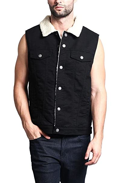 Classic Sherpa Faux Shearling Heavyweight Denim Work Vest at