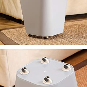 4 Pieces Adhesive Storage Box Pulley Furniture Caster Storage bin Garbage bin Small Furniture Tissue Box Easy to Move Items (White)