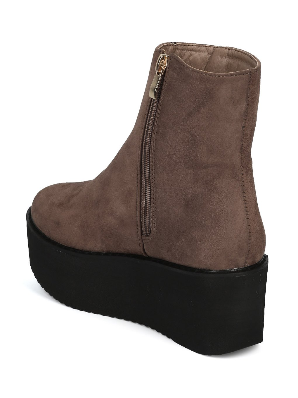 Indulge Hebe-I Women Round Toe Platform Creeper Ankle Bootie HE66 - Taupe Faux Suede (Size: 7.0) by Indulge (Image #2)