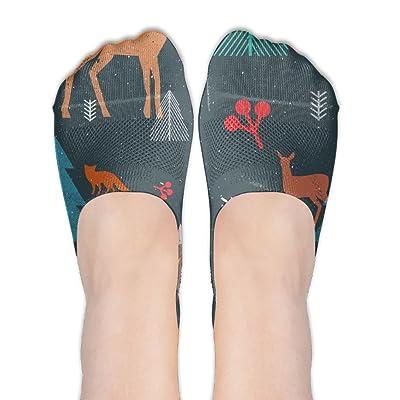 Christmas Woodland Animals Trees Female Polyester Cotton Socks Women Boat Socks Thin Casual Socks Low Cut Socks