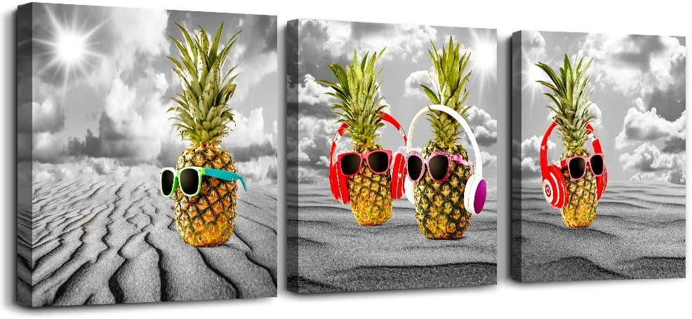 Canvas Wall Art For Kitchen Family Wall Decorations For Dining Room Modern Bedroom Wall Decor Black And White Paintings Pineapple Pictures Artwork Inspirational Canvas Art Prints Home Decor 3 Piece