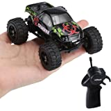 Virhuck 1:32 Scale RC Monster Truck, 2.4GHz 2WD Radio Télécommande Buggy Big Wheel Off-Road Vehicle - Noir
