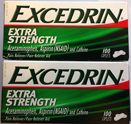 Excedrin Extra Strength Caplets - 100 Count - Acetaminophen, Aspirin (NSAID), & Caffeine - Pack of 2 by Excedrin