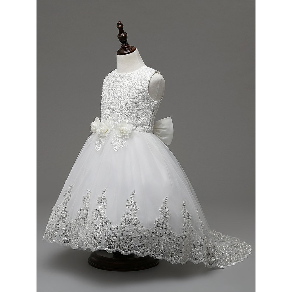 BOZEVON Girl Flowers Sleeveless Wedding Formal Dress Kids Princess Bridesmaid Christening Party Dresses 3-12 Years