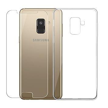 JIENI Funda para Samsung Galaxy J6 2018 Cover, Transparente TPU Suave Silicona Parachoques Tapa Caso Carcasa de Cristal Templado Protector Pantalla ...
