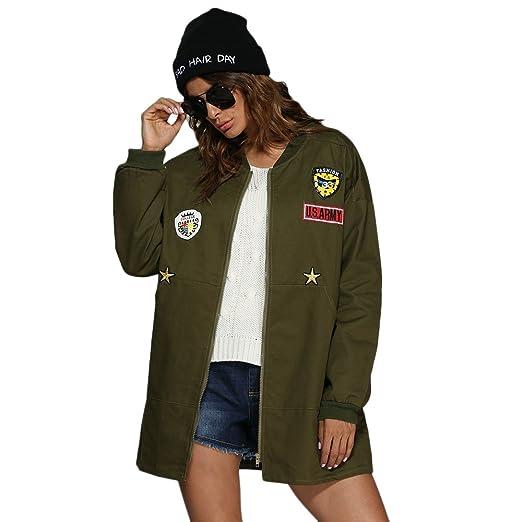 23cea19c7d967 Amazon.com  DEZZAL Women s Stand Collar Badge Patch Zip up Bomber Jacket  Coat  Clothing